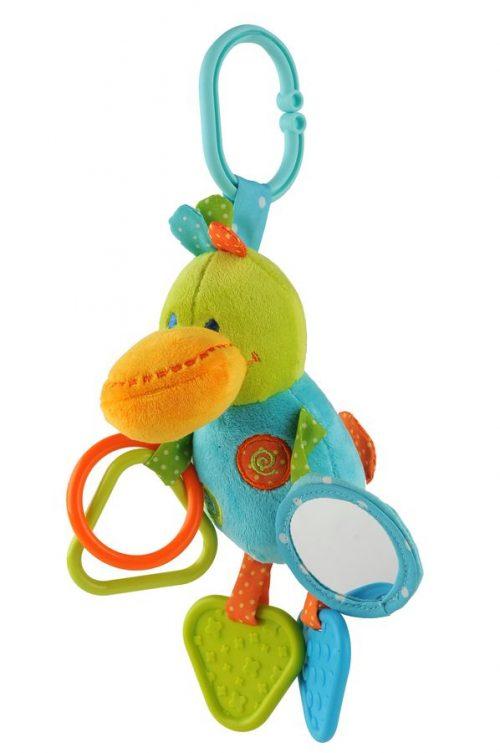 Zabawka dźwiękowa kaczka z lusterkiem BabyOno 0m+ zawieszka do wózka