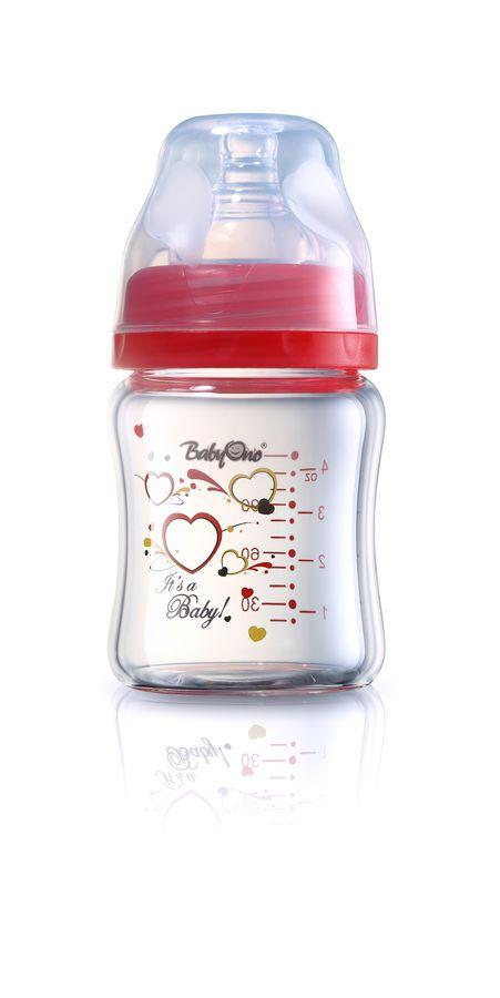 Butelki szklane BabyOno szerokootworowa butelka 120 ml Czerwony