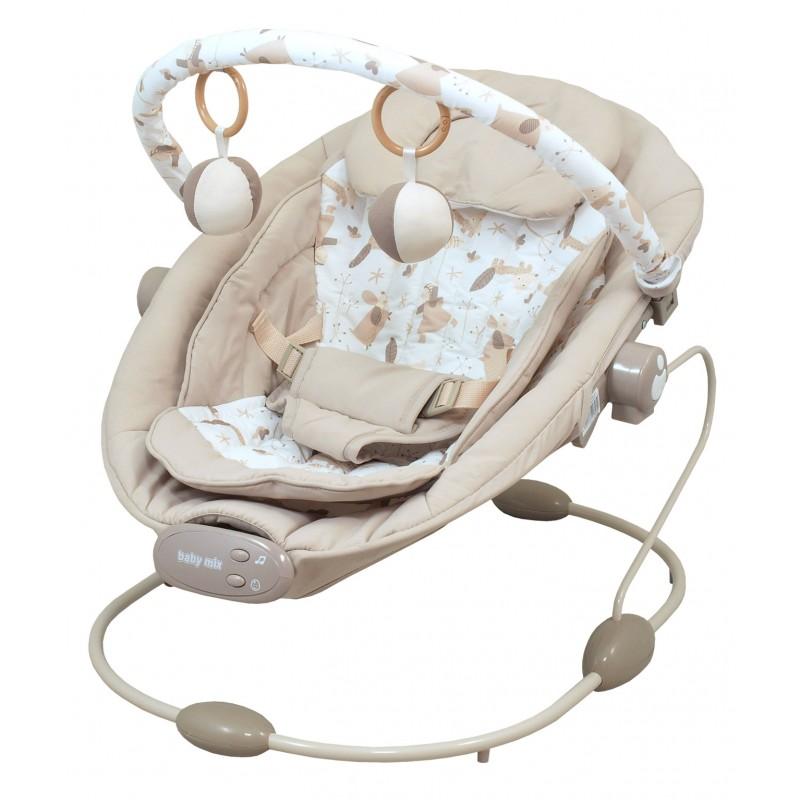 Leżaczek niemowlęcy z pałąkiem, wibracjami i melodiami BR245, Alexis Baby Mix Beż