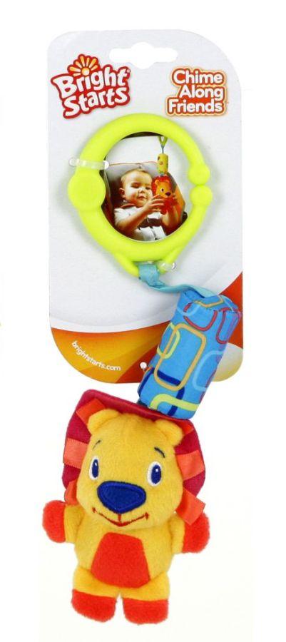 Zabawne pluszowe zawieszki z dźwiękiem dzwoneczków - zawieszka do wózka lub fotelika Bright Starts Lew