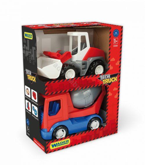 Pojazdy Tech Truck spychacz i betoniarka Wader 35370