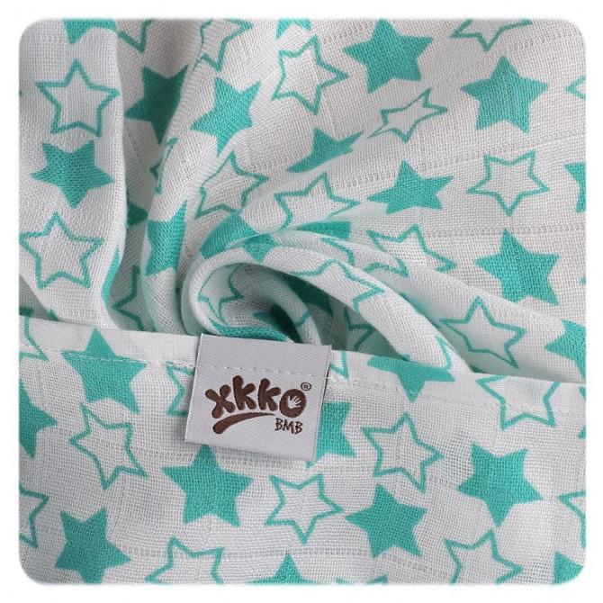 Pieluszki bambusowe XKKO 70x70 cm - 3szt Little Stars Turkusowe
