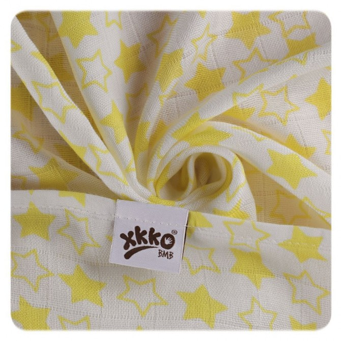 Pieluszki bambusowe XKKO 70x70 cm - 3szt Little Stars Żółte