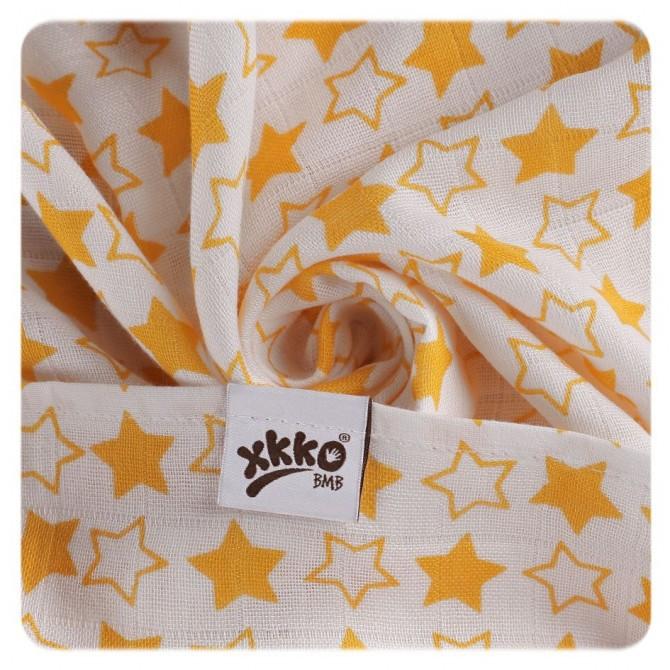 Pieluszki bambusowe XKKO 70x70 cm - 3szt Little Stars Pomarańczowe
