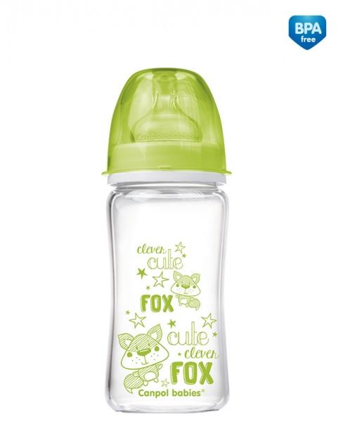 Butelka do karmienia szklana Canpol Babies EasyStart 240 ml kolor Zielony