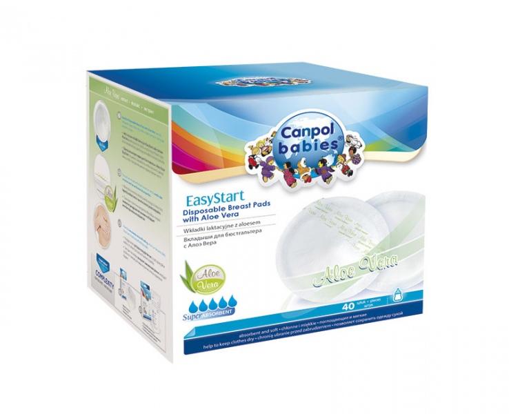 Wkładki laktacyjne jednorazowe Canpol Babies EasyStart AloeVera - 40 sztuk