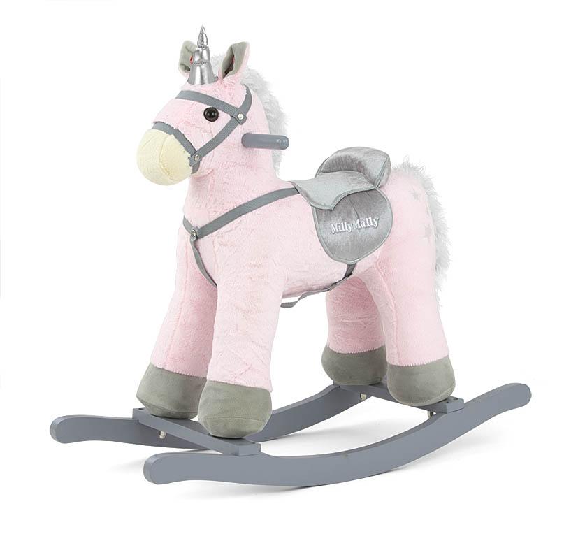 Koń na biegunach dla dzieci różowy