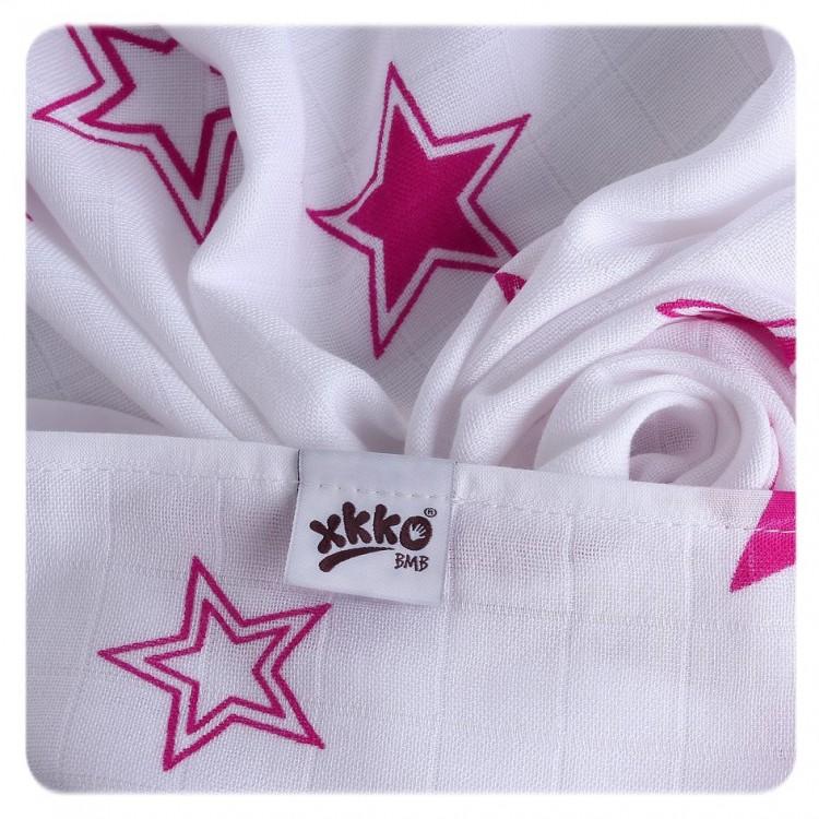 Pieluszki bambusowe XKKO 70x70 cm - 3szt Stars Różowy