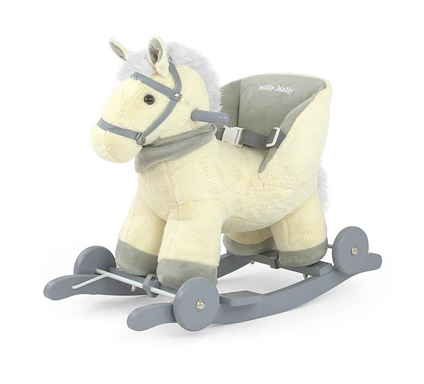 Koń na biegunach z oparciem dla dzieci 12+ Polly Milly Mally