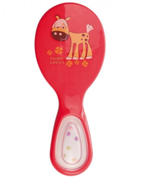 Delikatna szczotka do włosów dla dzieci Canpol Babies z włosia sztucznego grzechotka w rączce_Czerwony