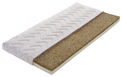 Materac lateksowo kokosowy do łóżeczka 120x60 Minako Tecomat pokrowiec kółka