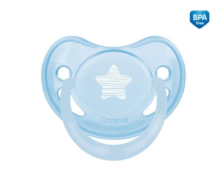 Smoczek uspokajający anatomiczny silikonowy 18m+ Pastelove Canpol Babies kolor Niebieski