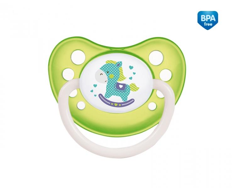 Kauczukowy smoczek do uspokajania anatomiczny nocny świecący w ciemności Canpol Babies 6-18m kolor Zielony