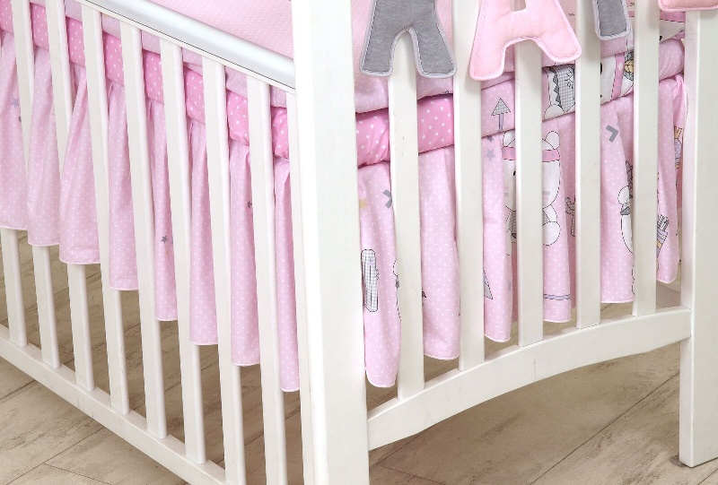 Amy falbana do łóżeczka 120 indi róż