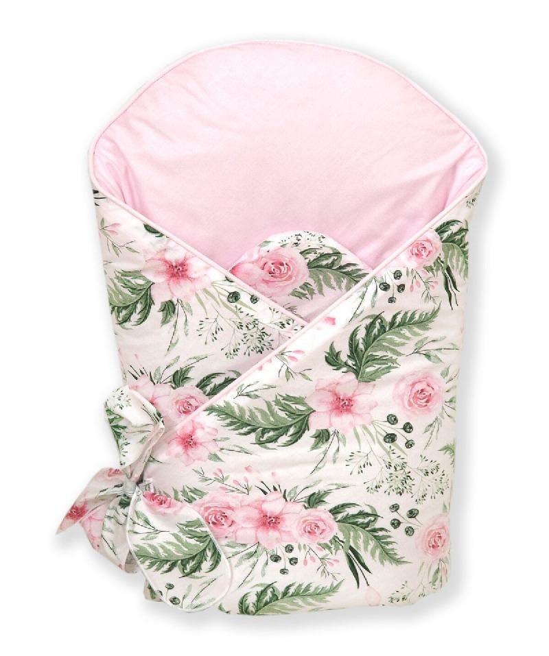 Usztywniany kokosem becik rożek dla niemowląt Różany ogród Amy różowo