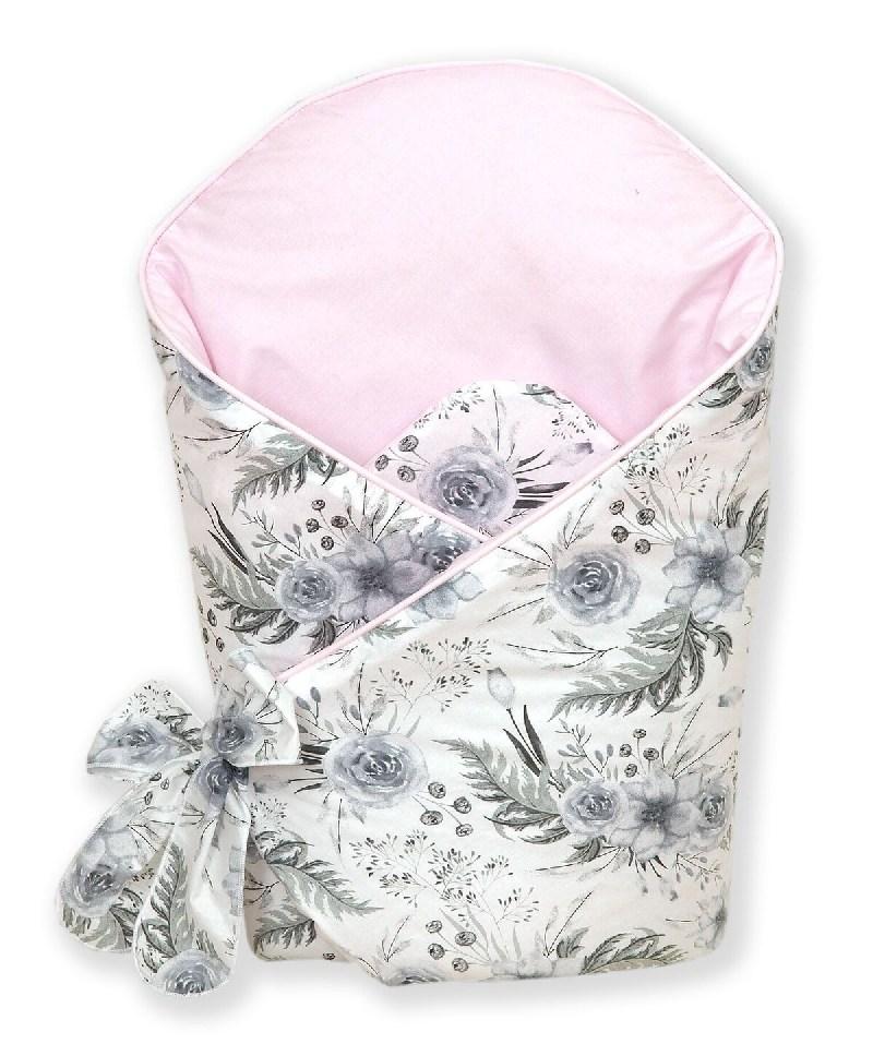 Usztywniany kokosem becik rożek dla niemowląt Różany ogród Amy szary róż
