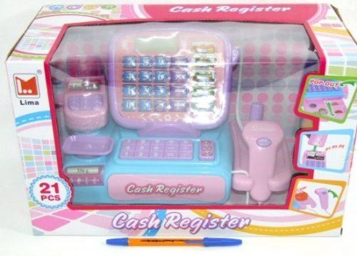 Macyszyn kasa dla dziewczynki różowa. Zawiera 21 elementów, dotykowa