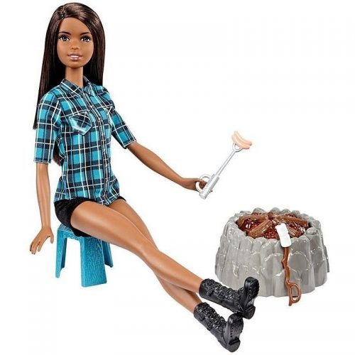 Lalka Barbie na biwaku  płonące ognisko FDB43 FDB45