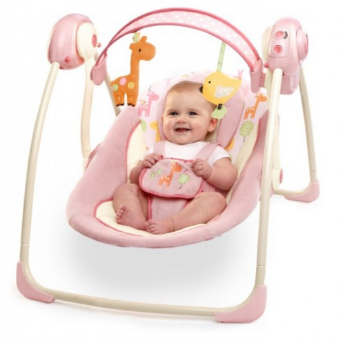 Huśtawka dla dziecka leżaczek Żyrafka Bright Starts z pałąkiem z zabawkami - do 9 kg BS60121 Ingenuity
