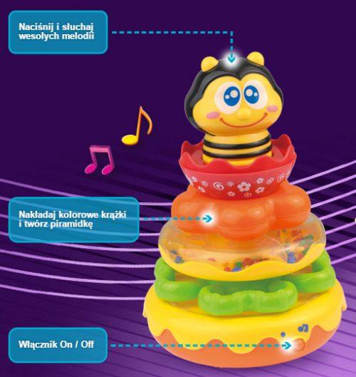 Piramidka pszczółka Dumel Discovery DD42527  kolorowa piramidka do układania
