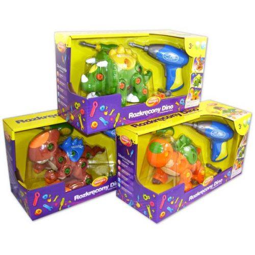 Rozkręcony dino Dumel DD43527  kreatywne zabawki z narzędziami - dla dzieci od 3 lat Zielony + wkrętarka