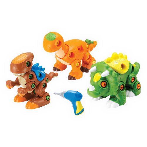 Rozkręcony dino Dumel DD43527 kreatywne zabawki z narzędziami - dla dzieci od 3 lat Pomarańczowy + wkrętarka