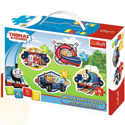 Zestaw puuzli dla dzieci 2+ 4 układanki puuzli od 2 do 5 elementów Thomas Trefl