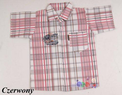 Sportowa koszula w kratę dla chłopców 128 Czerwony
