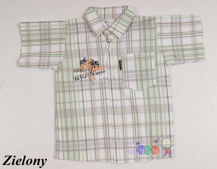 Sportowa koszula w kratę dla chłopców 128 Zielony