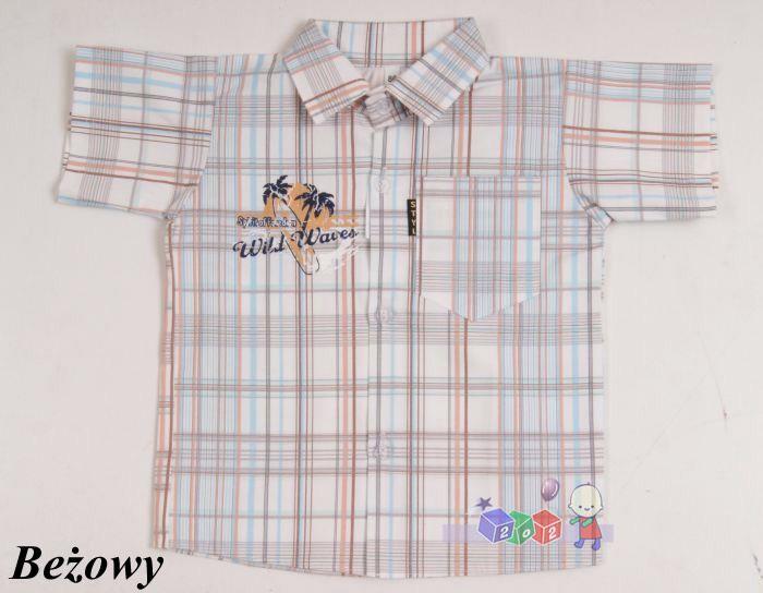 Sportowa koszula w kratę dla chłopców 140 Beżowy