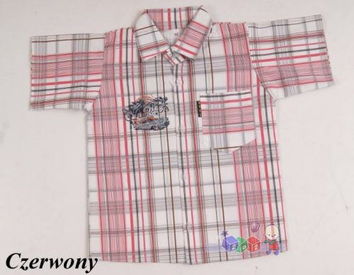 Sportowa koszula w kratę dla chłopców 140 Czerwony