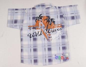 Sportowa koszula w kratę dla chłopców 140 Niebieski