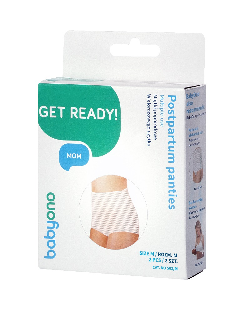 Wielorazowe majtki  poporodowe siateczkowe BabyOno - komfort i higiena po porodzie 2szt rozmiar M