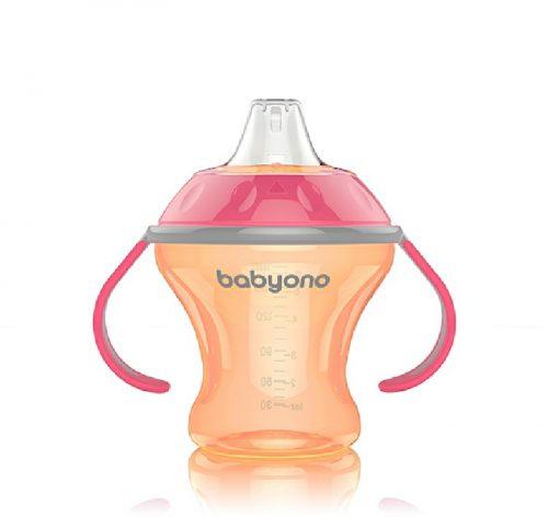 BabyOno Kubek niekapek 180 ml z twardym ustnikiem Różowy