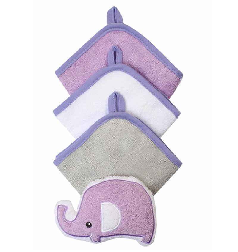 BabyOno zestaw 3 myjek frotte z gąbką Słoń