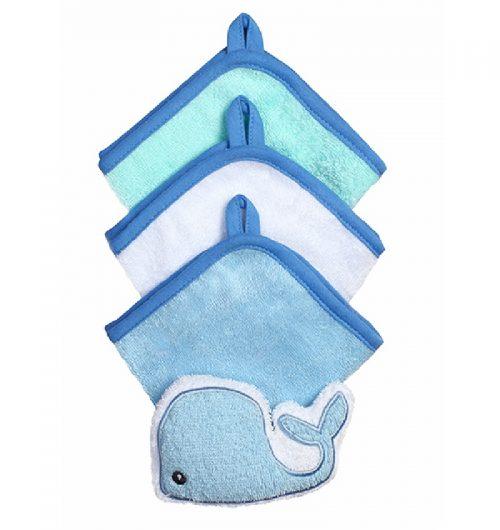 BabyOno zestaw 3 myjek frotte z gąbką Wieloryb