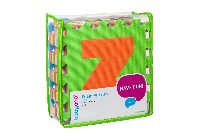 Bezpieczne puzzle piankowe dla dzieci 6m+ BabyOno Litery 10 szt.