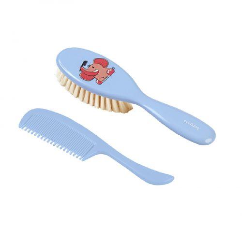 Szczoteczka miękkie naturalne włosie + grzebień Babyono Niebieski
