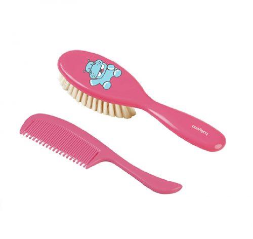 Szczoteczka miękkie naturalne włosie + grzebień Babyono Różowa