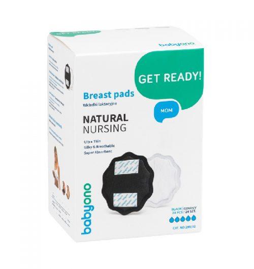 BabyOno wkładki laktacyjne czarne natural nursing 24 szt