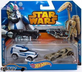 Hot Wheels Star Wars Samochodziki Bohaterowie - dwupak CGX07 CGX02