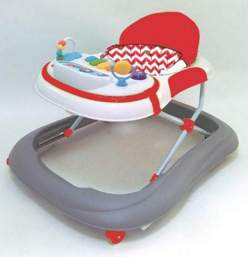Baby Mix - chodzik dziecięcy z silikonowymi kółeczkami UR-1120-NA2 Szaro czerwony
