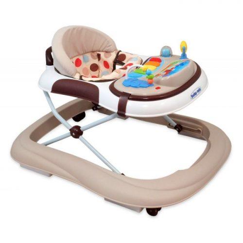 Baby Mix - chodzik dziecięcy z silikonowymi kółeczkami UR-1120-NA2 Beżowy