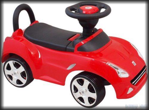 Pchacz pojazd dla dzieci z dźwiękiem i światłami. Czerwony