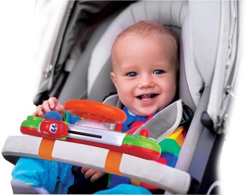 Kierownica z klaksonem panel do wózka dziecięcego gra i świeci Dumel DD45287