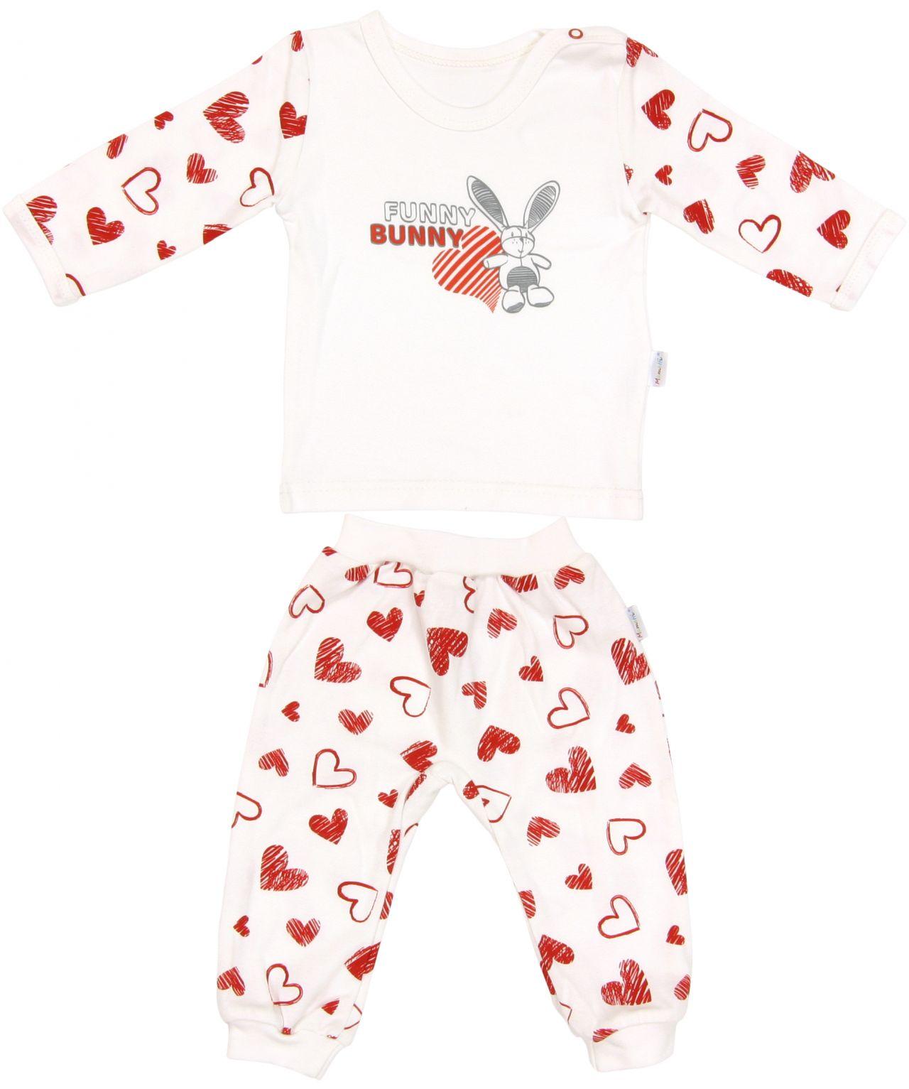 Piżama dla dziecka bawełniana długi rękaw serduszko Mamatti 80