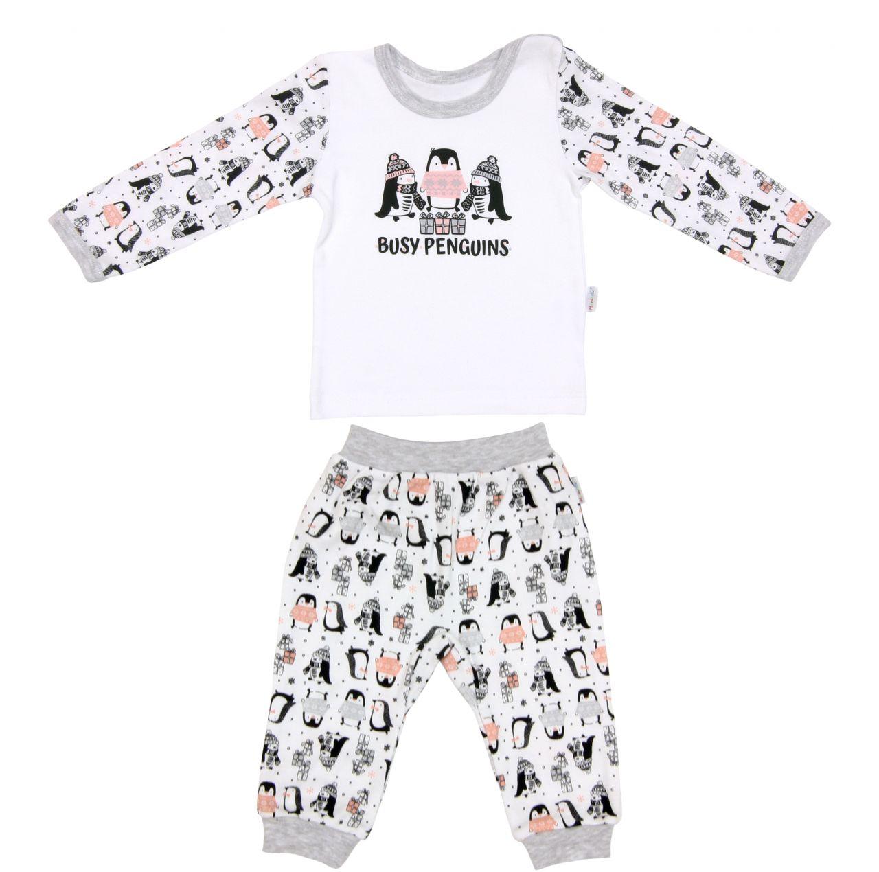 Piżama dla dziecka bawełniana długi rękaw Pingwin Mamatti 80