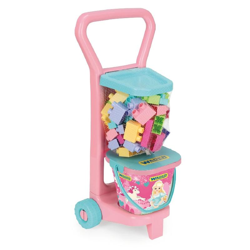 Różowy wózek z klockami firmy Wader-Wozniak 10773 - 36 elementów