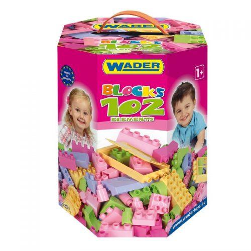 Zestaw klocków w kartonie w pastelowych kolorach dla dziewczynek - 102 elementy Wader 41291