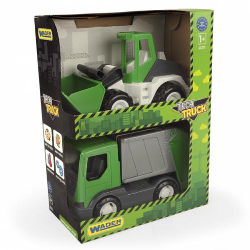 Koparka i wywrotka Wader Pojazdy Tech Truck green 2 szt 35371